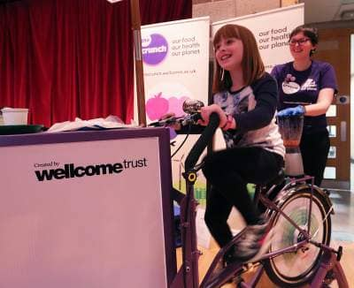 Morgan Lee,  Dunfermline trying out The Crunch bike!