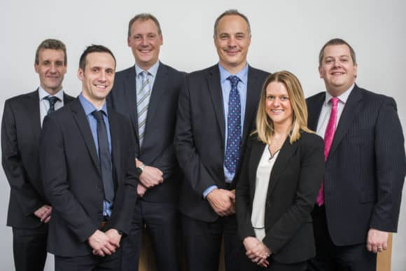 L-R  EQ Partners Mark Gibson, Mark Smeaton,  David Morrison, Steven Todd, Louise Grant, Ross Oliphant. Pic Alan Richardson Dundee, Pix-AR.co.uk