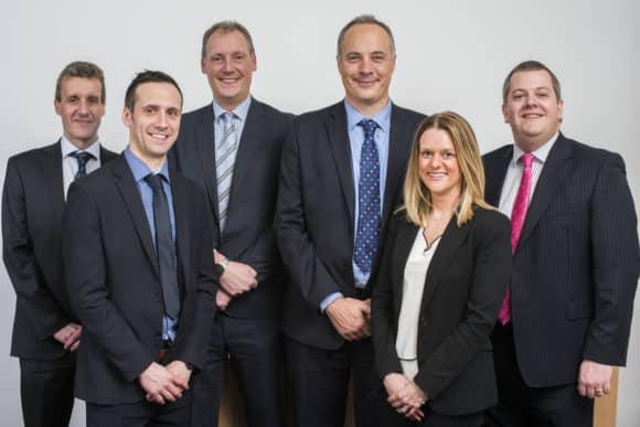 L-R  EQ Partners Mark Gibson, Mark Smeaton,  David Morrison, Steven Todd, Louise Grant, Ross Oliphant. Pic Alan Richardson Dundee, Pix-AR.co.uk