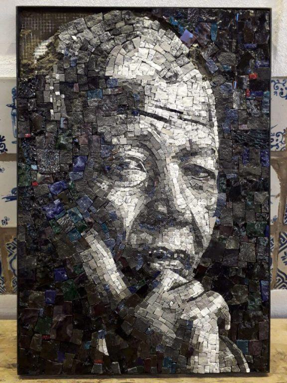 Mosaic art, Nelson Mandela. Credit – Dean Laminie